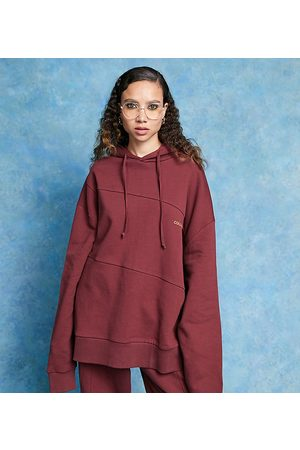 COLLUSION Seam detail branded oversized hoodie in burgundy