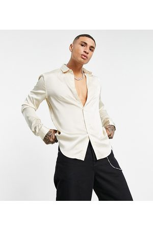 ASOS Satin shirt in stone-Neutral