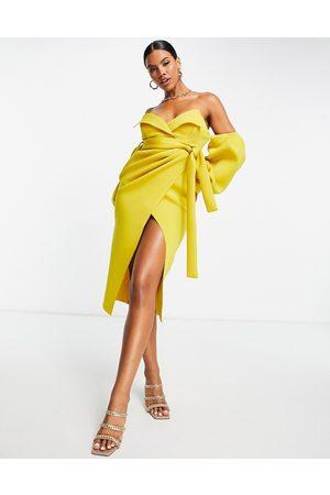 ASOS Off shoulder collar wrap midi dress in mustard-Multi