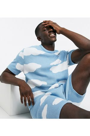 ASOS Knitted co-ord t-shirt with cloud design in
