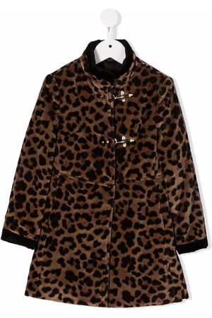 FAY KIDS Leopard-print faux-fur coat