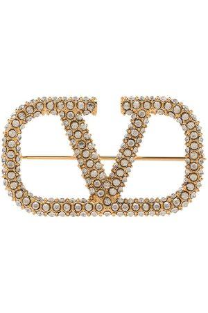 VALENTINO GARAVANI Women Brooches - Crystal-embellished Vlogo brooch