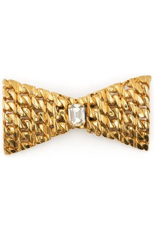 Céline 1980s pre-owned crystal-embellished bow brooch