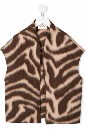 DOUUOD KIDS Zebra-print knitted waistcoat