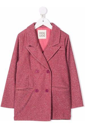DOUUOD KIDS Peak-lapels metallic-threading double-breasted coat