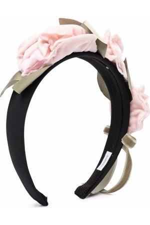 MONNALISA Floral-applique velvet-trim hairband