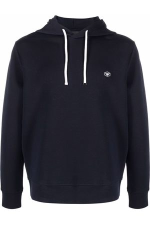 Emporio Armani Long-sleeved logo patch hoodie