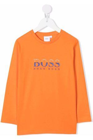 HUGO BOSS Boys Long Sleeve - Logo-print long-sleeved T-shirt
