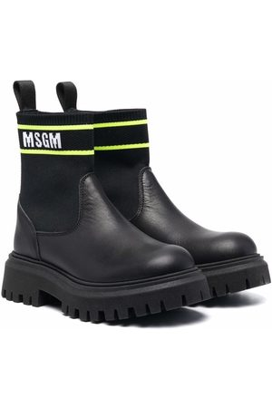 Msgm TEEN leather ankle-sock boots