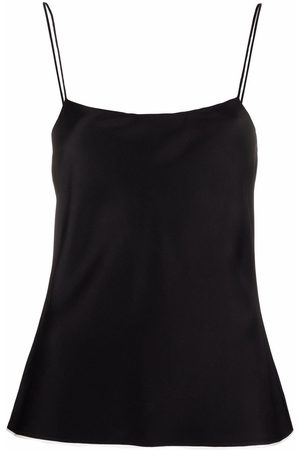 There Was One Contrast-trim square-neck satin slip top
