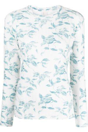 yuhan wang Women Long Sleeve - Floral-print jersey T-shirt