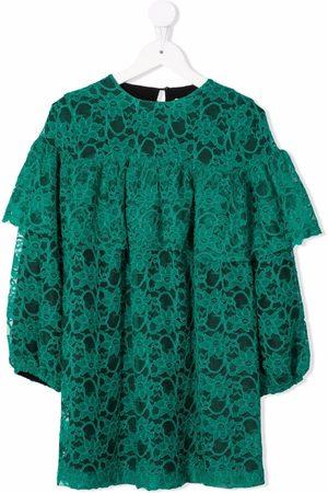 Le pandorine Lace-pattern ruffled dress