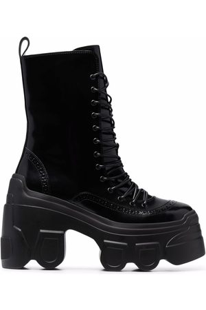 Simone Rocha Women Lace-up Boots - Track sole lace-up leather boots