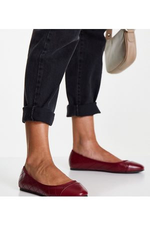 ASOS Wide Fit Lantern quilted ballet flats in burgundy