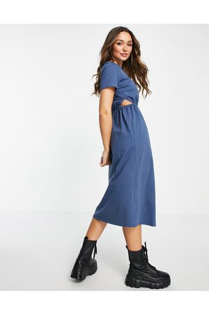 River Island Women Casual Dresses - Ruched cut out waist midi dress in navy