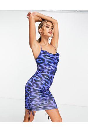 ASOS Satin cowl ruched mini dress in bright blue animal print-Multi