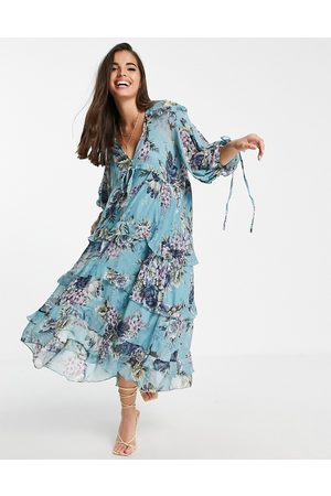 ASOS Layered smock midi dress with tie detail in floral print-Neutral