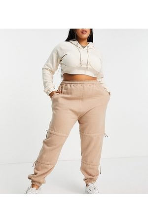 PUBLIC Ruched tie detail jogger in sand-Neutral