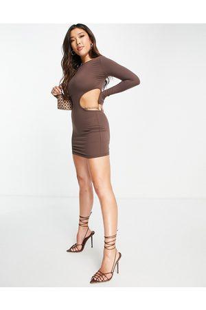 Simmi Clothing Simmi chain detail cut out bodycon mini dress in chocolate