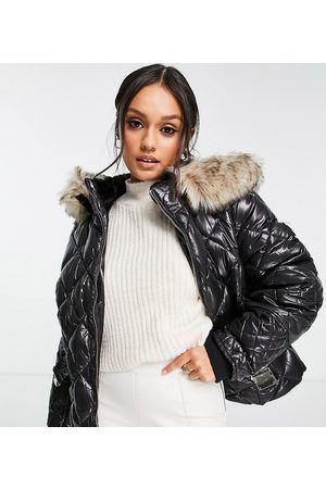 River Island Belted patent quilted padded jacket with faux fur hood in