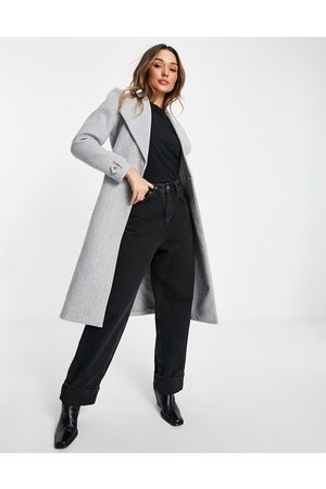 River Island Puff sleeve belted robe coat in