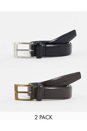 French Connection 2 pack prong buckle belt in & brown