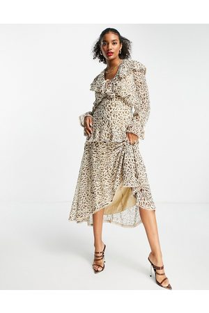 ASOS Women Printed Dresses - Ruffle plunge midi dress with lace trims in leopard print-Multi