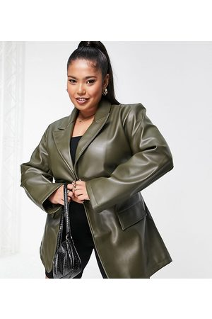 ASOS Women Leather Jackets - ASOS DESIGN Curve faux leather belted grandad in olive
