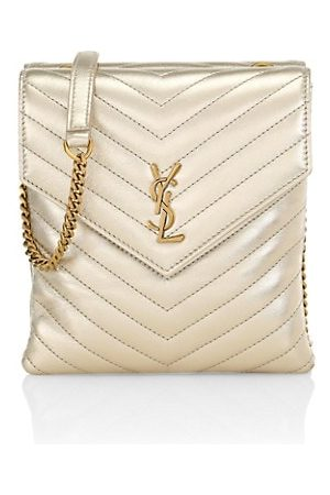 Saint Laurent Women Handbags - Matelassé Metallic Leather Double Flap Shoulder Bag
