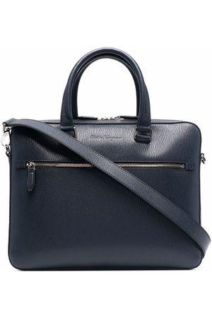 Salvatore Ferragamo Men Laptop Bags - Debossed-logo leather briefcase