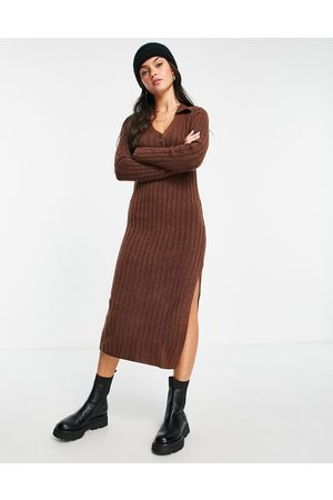 ASOS Women Casual Dresses - Knitted midi dress with collar and button front in rust
