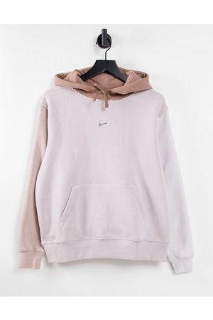Nike Metallic Swoosh colour block hoodie in neutrals