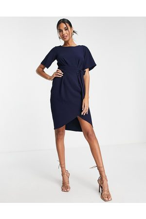 Closet Women Pencil Dresses - Tie waist gathered pencil midi dress in navy