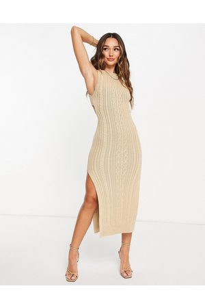 ASOS Cable knit midi dress with open back and thigh split detail in taupe