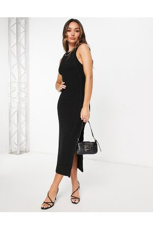 ASOS Women Knitted Dresses - Cable knit midi dress with open back and thigh split detail in
