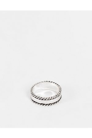 ASOS Band ring with rope edges in burnished tone
