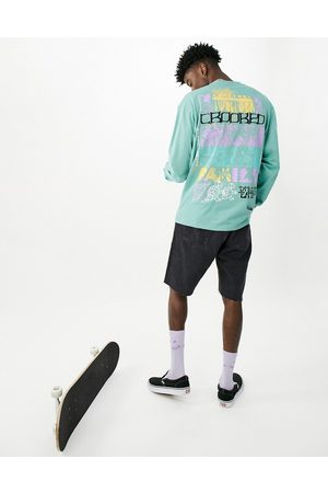 Crooked Tongues Long sleeve t-shirt with multi prints in teal