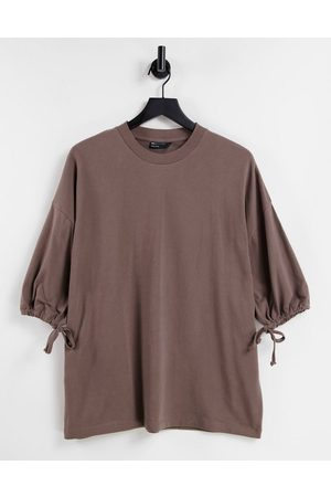 ASOS Men T-shirts - Oversized heavyweight t-shirt with half sleeve & drawcord in light