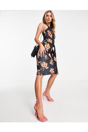 ASOS Women Printed Dresses - One shoulder side knot midi dress in black floral print-Multi