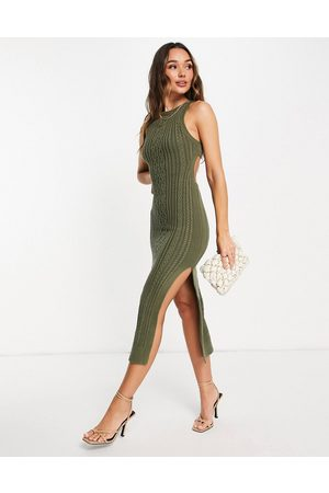ASOS Cable knit midi dress with open back and thigh split detail in khaki