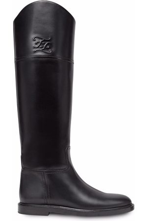 Fendi Women Knee High Boots - Karligraphy knee-high leather boots