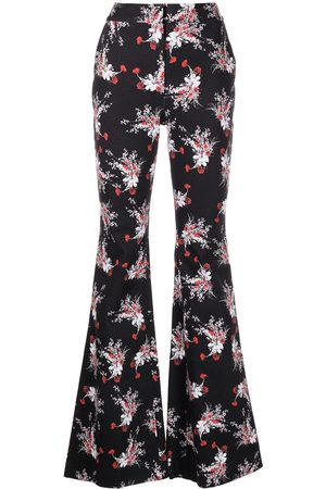 ADAM LIPPES Flared floral-print twill trousers
