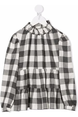 Il gufo Girls Blouses - Checked tiered blouse