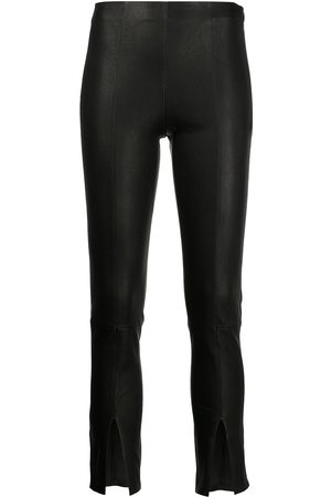 THEORY Women Leather Pants - Cropped slit-cuff leather trousers