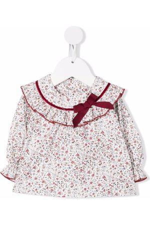LA STUPENDERIA Floral-print ruffle-trim organic cotton blouse