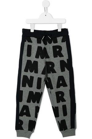 Marni Two-tone logo-print joggers