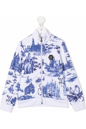 Philipp Plein Girls Bomber Jackets - Tile-print bomber jacket