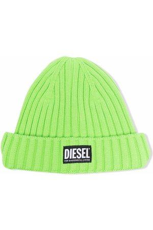 Diesel Boys Beanies - Ribbed knit logo-patch beanie