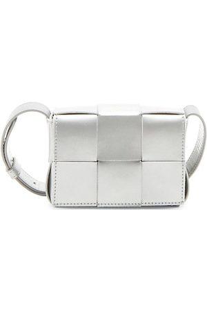 Bottega Veneta Women Handbags - Cassette Metallic Leather Card Case-On-Strap