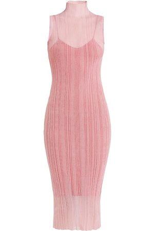 Hervé Léger Women Midi Dresses - Semi-Sheer Ribbed Dress